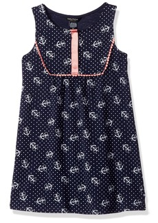Nautica Little Girls' Toddler Anchor Print Tunic Dress with Grosgrain Placket