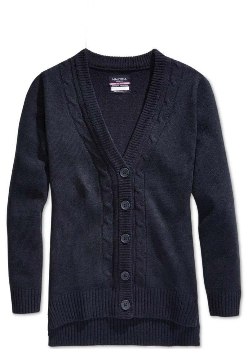 Nautica Nautica School Uniform Cable-Knit Boyfriend Cardigan, Big ...