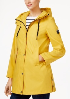 Nautica Hooded Water-Resistant A-Line Raincoat
