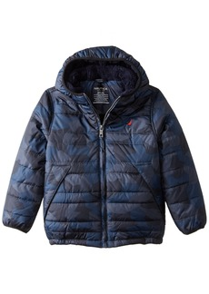 Nautica Little Boys' Puffer Coat with Faux Sherpa