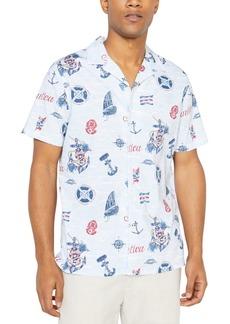 Nautica Jeans Co. Men's Classic-Fit Stretch Maritime-Print Camp Shirt