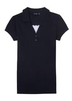 Nautica Juniors Uniform Short Sleeve Pique Polo with Camisole Trim