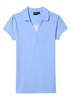 Nautica Juniors Uniform Short Sleeve Pique Polo with Camisole Trim light blue