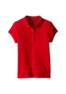 Nautica Girls Plus Short Sleeve Polo with Ruffle Placket (Big Kids)