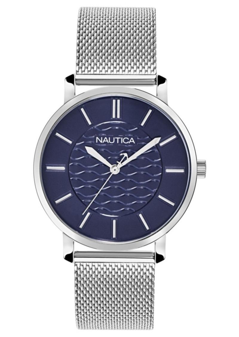 Nautica Ladies NAPCGP907 Coral Gables Silver Mesh Stainless Steel Bracelet Watch Box Set + Blue/White Saffiano Leather Strap