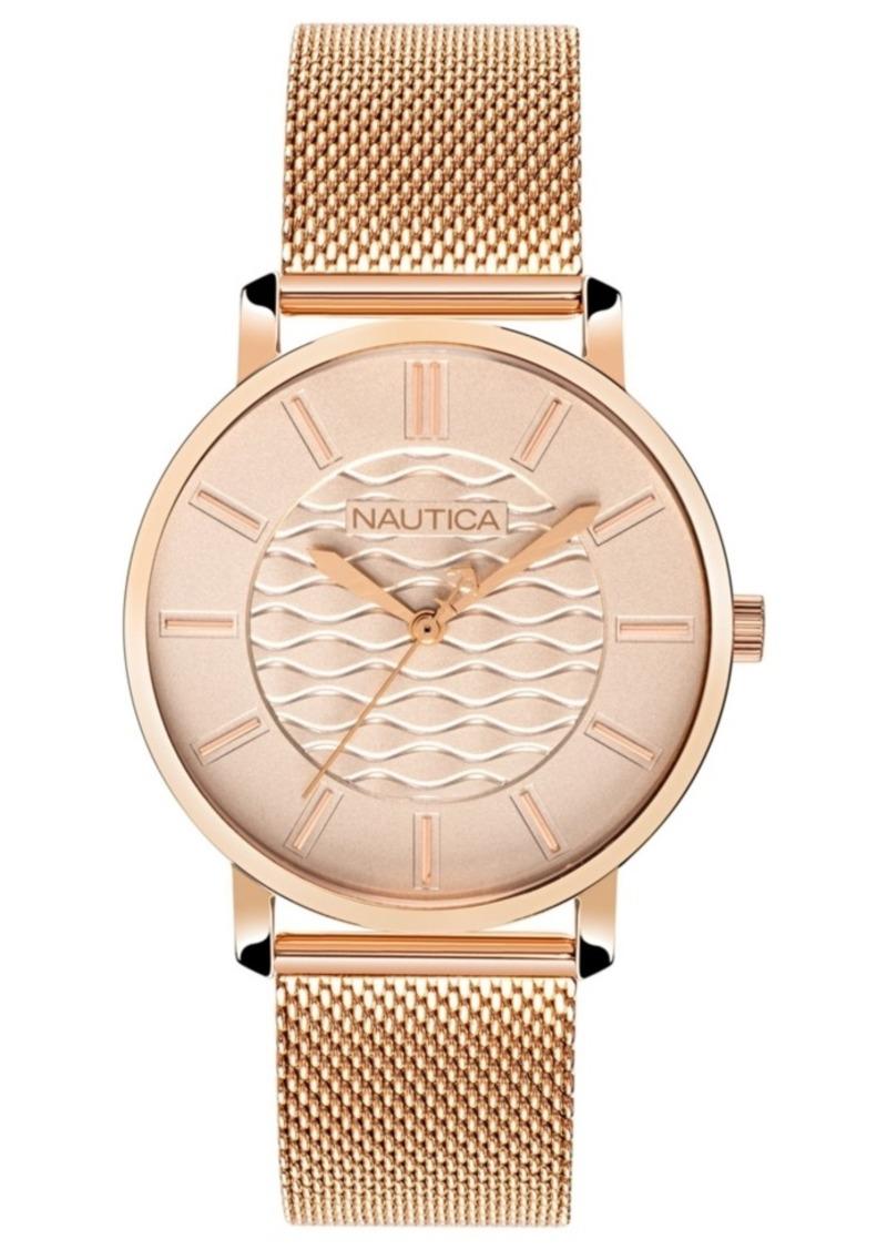 Nautica Ladies NAPCGP908 Coral Gables Rose Gold Mesh Stainless Steel Bracelet Watch Box Set + Blue/Beige Saffiano Leather Strap