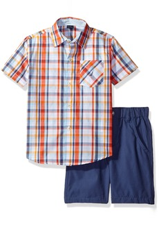 Nautica Boys' Little Two Piece Sleeve Shirt with Pull On Solid Shorts