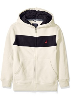 Nautica Little Boys Costal Colorblock Hoodie With Sherpa
