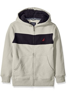 Nautica Little Boys Costal Colorblock Hoodie with Sherpa Grey Heather X-Large/7X)