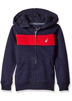 Nautica Little Boys Costal Colorblock Hoodie with Sherpa Sport