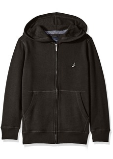Nautica Little Boys Fleece Full Zip Hoodie with Pouch Pocket Black