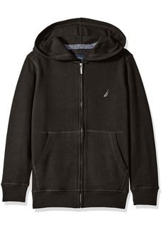 Nautica Little Boys Fleece Full Zip Hoodie with Pouch Pocket Black X-Large/7X)