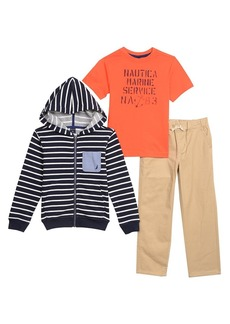 Nautica Boys' Little Fleece Stripe Hoodie Tee and Twill Jogger Set  7X