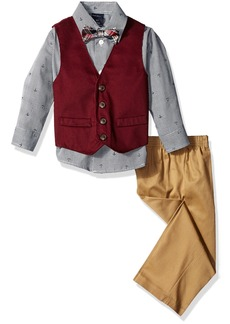 Nautica Little Boys Four-Piece Solid Twill Vest Set with Bow Tie Navy