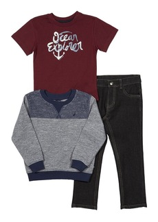 Nautica Boys' French Terry Pullover Tee and Denim Jogger Set