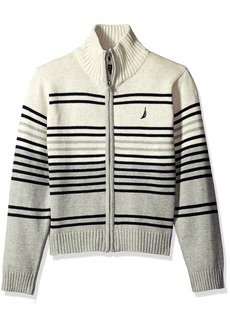 Nautica Little Boys' Toddler Full Zip Sweater with Stripe