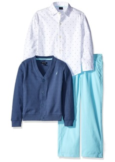 Nautica Boys' Long Sleeve Button Down Shirt Cardigan and Flat Front Pant Three Piece Set