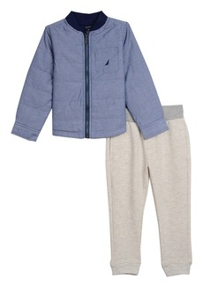 Nautica Little Boys' Long Sleeve Shirt Jacket and Knit Jogger Two Piece Set