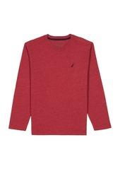 Nautica Boys' Little Long Sleeve V Neck Shirt red Rouge