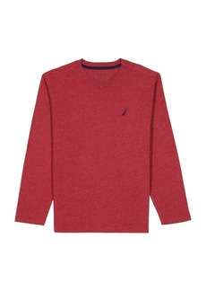 Nautica Boys' Little Long Sleeve V Neck Shirt red Rouge