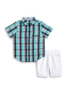 Nautica Little Boy's Plaid Shirt & Pull-On Shorts Two-Piece Set