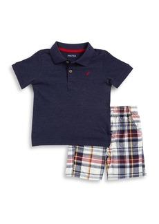 Nautica Little Boy's Polo & Plaid Shorts Two-Piece Set