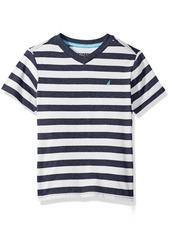 Nautica Little Boys' Short Sleeve V-Neck Stripe Tee Shirt