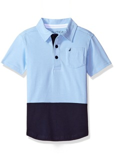 Nautica Little Boys' Stretch Shirt Tail Hem Stripe Polo  Medium (5/6)