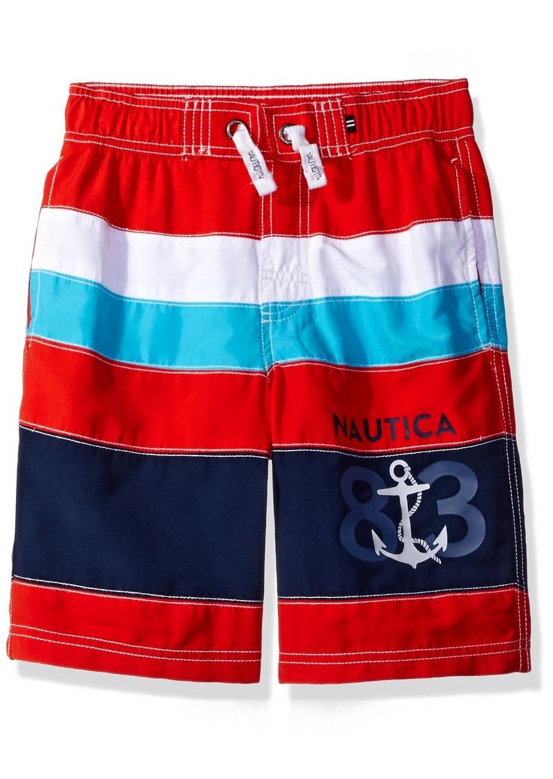 03566e8ec8 Nautica Little Boys' Swim Trunk With UPF 50+ Sun Protection Scarlet/Teal