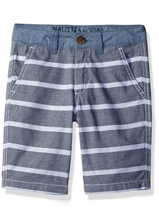 Nautica Boys' Little Textured Stripe with Chambray Trim Two Piece Short