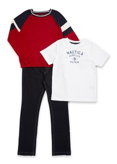 Nautica Little Boy's Three-Piece Rouge Cotton Sweater, Tee and Pants Set
