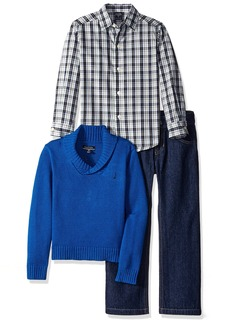Nautica Little Boys Three Piece Set with A Woven Shirt Shawl Sweater and Denim Jean