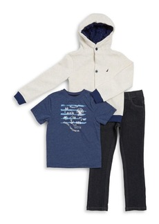 Nautica Little Boy's Three-Piece So Much To Sea Hoodie, Tee and Pants Set