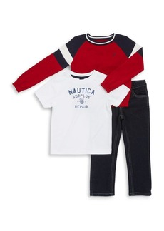 Nautica Little Boy's Three-Piece Sweater, Tee & Jeans Set