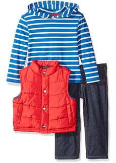 Nautica Little Boys' Toddler Three Piece Outerwear Set with Puffer Vest Tee Top and Pant