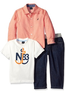 Nautica Little Boys' Toddler Three Piece Set with Long Sleeve Woven Shirt Tee and Denim Jean