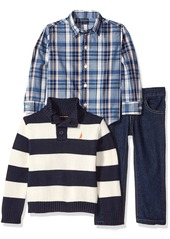 Nautica Little Boys' Toddler Three Piece Set with Woven Shirt Quarter Button Sweater and Pant