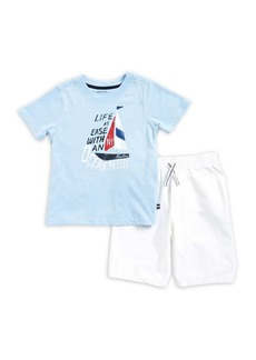 Nautica Little Boy's Two-Piece Ocean Tee and Shorts Set