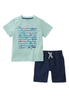 Nautica Little Boy's Two-Piece Screen-Printed Tee and Cotton Shorts Set