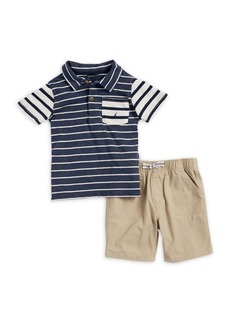 Nautica Little Boy's Two-Piece Stripe Polo and Cotton Shorts Set