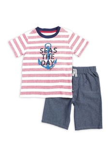 Nautica Little Boy's Two-Piece Striped Tee and Drawstring Shorts Set