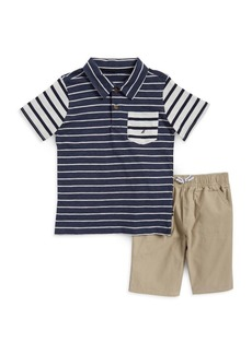 Nautica Little Boy's Two-Piece Striped Tee and Shorts Set