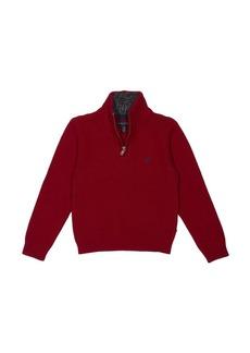 Nautica Little Boys' Zip Neck Ottoman Stitch Solid Sweater  7X
