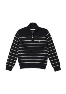 Nautica Little Boys' Zip Neck Striped Sweater