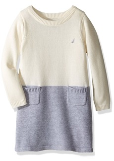 Nautica Little Girls Colorblock Sweater Dress
