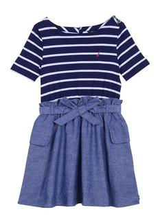Nautica Little Girls' Combination Dress with Chambray Skirt
