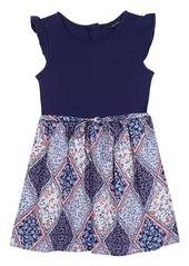 Nautica Girls' Little Combination Dress with Woven Print Skirt
