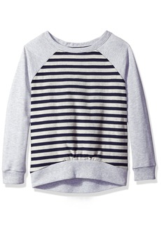 Nautica Little Girls' French Terry Stripe Pullover With Hi-Low Hem