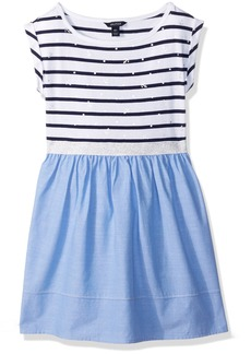 Nautica Little Girls' Jersey Metalic Detail Dress With Chambray Skirt