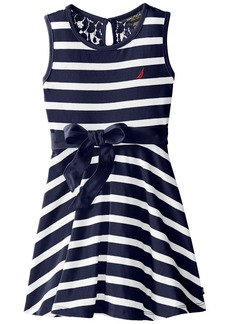 Nautica Little Girls' Jersey Stripe Tank Dress with Lace Back Yoke EL Navy